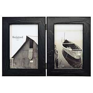 Distressed Black Wood 2-Opening Picture Frame, 4x6