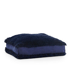 Navy Faux Polar Bear Fur Square Pouf