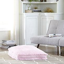 Light Pink Faux Polar Bear Fur Square Pouf