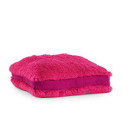 Hot Pink Faux Polar Bear Fur Square Pouf