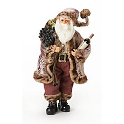 Santa and Wine Figurine