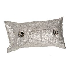 Silver Metallic Velvet Accent Pillow