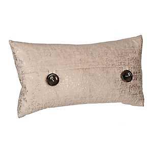 Cream Metallic Velvet Accent Pillow