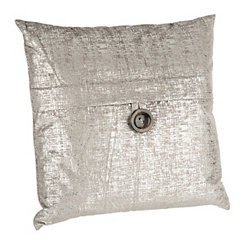 Silver Metallic Velvet Pillow