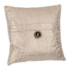 Cream Metallic Velvet Pillow