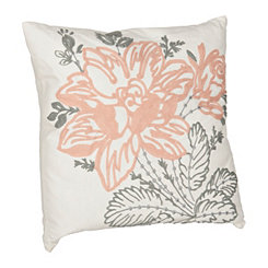 Pink Embroidered Flower Pillow