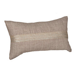 Gray Metallic Jute Accent Pillow