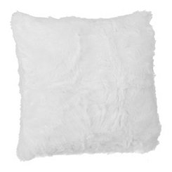 White Faux Fur Pillow, 20 in.