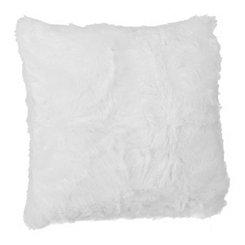 White Faux Fur Pillow, 20 in.