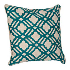 Teal Geometric Fretwork Pillow