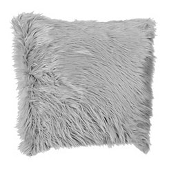 Gray Mongolian Faux Fur Pillow