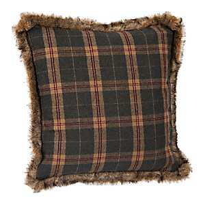 Blue and Brown Plaid Pillow with Fur Trim