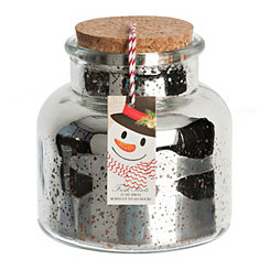 Crafty Snowman Mercury Glass Jar Candle