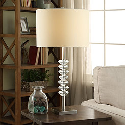 Crystal Diamonds and Metal Table Lamp