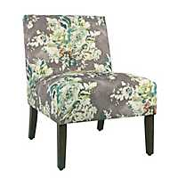 Carson Gray Floral Armless Accent Chair