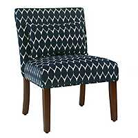 Parker Textured Navy Accent Chair With Pillow