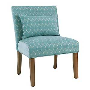 Parker Textured Teal Accent Chair With Pillow