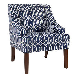 Bella Blue Trellis Swoop Accent Chair