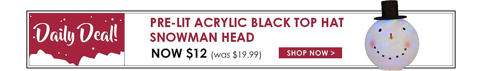 Daily Deals - Pre-Lit Acrylic Black Top Hat Snowman Head Now $12 - Shop Now