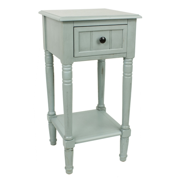 antique ice blue simplify 1drawer accent table
