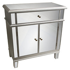 Silver Mirrored 2-Door Cabinet