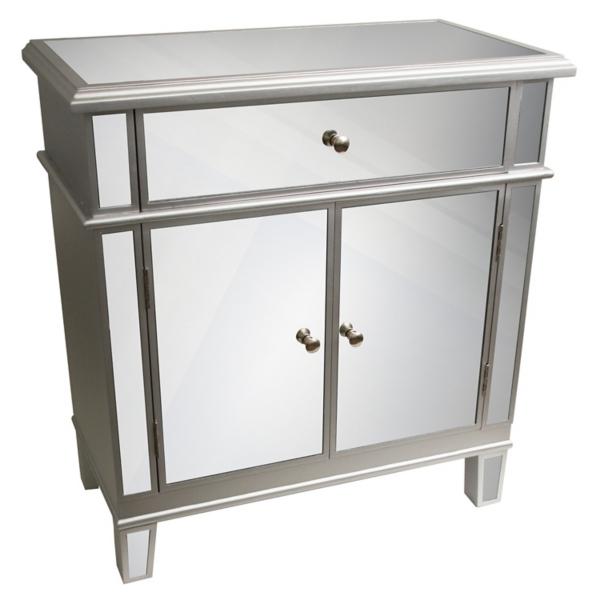 silver mirrored 2door cabinet