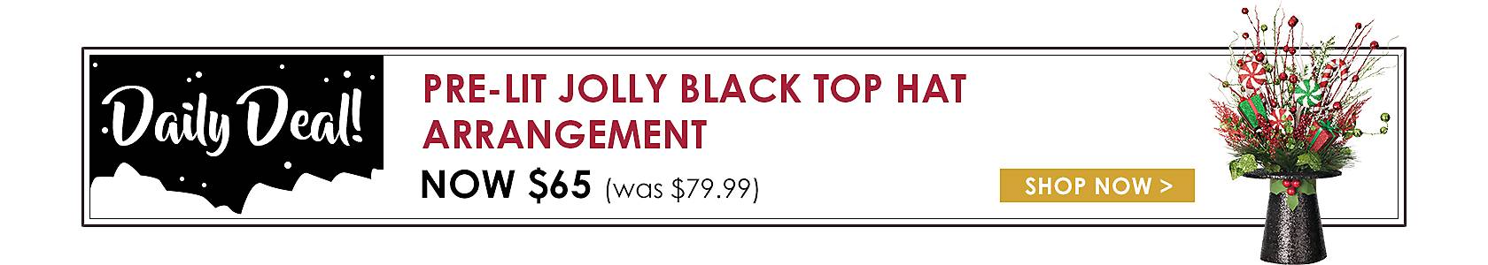 Daily Deals - Pre-Lit Jolly Black Top Hat Arrangement Now $65 - Shop Now