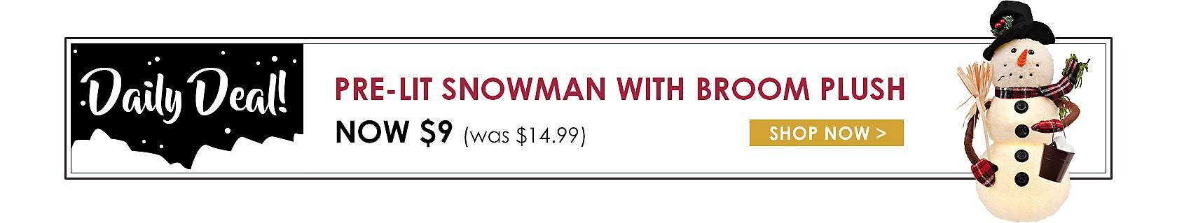 Daily Deals - Pre-Lit Snowman with Broom Plush Now $9 - Shop Now
