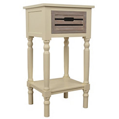 Ivory Melody Accent Table with Natural Drawer