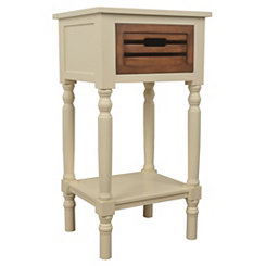 Ivory Melody Accent Table with Chestnut Drawer