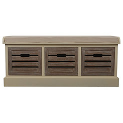 Natural Melody 3-Drawer Storage Bench
