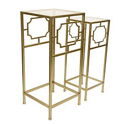Champagne and Glass Accent Tables, Set of 2