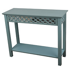 Iced Blue Antique Mirrored Console Table