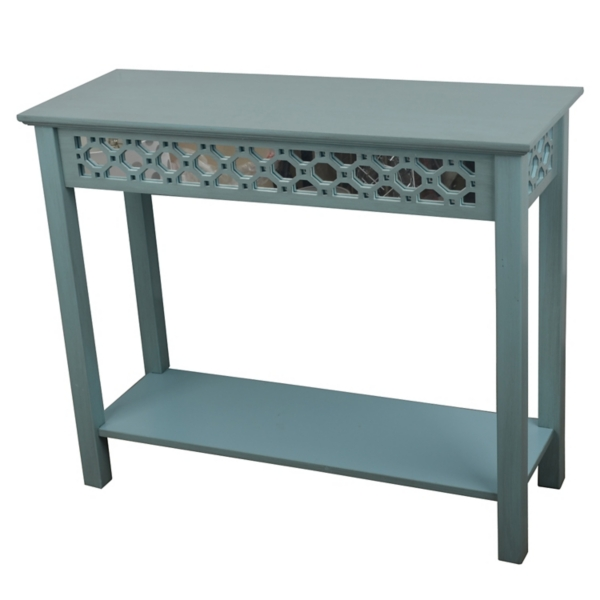 ... Iced Blue Antique Mirrored Console Table ...