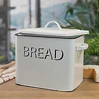 White Metal Enamelware Bread Box