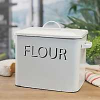 White Metal Enamelware Flour Box