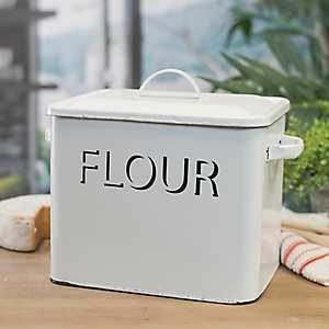 White Metal Enamelware Flour Box