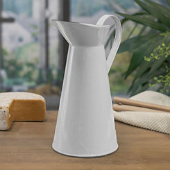 White Metal Enamelware Pitcher