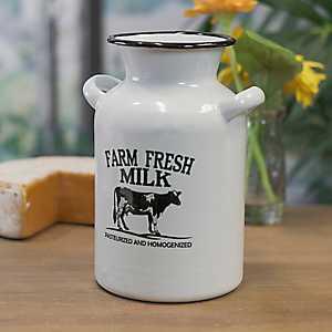 White Metal Enamelware Milk Jug