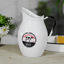 White Metal Enamelware Rose Hill Dairy Pitcher