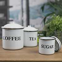 White Metal Enamelware Kitchen Canisters, Set of 3