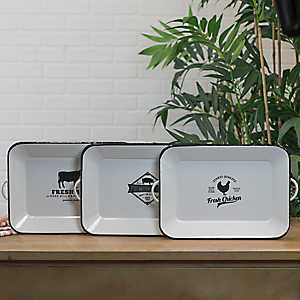 White Metal Enamelware Rose Hill Trays, Set of 3