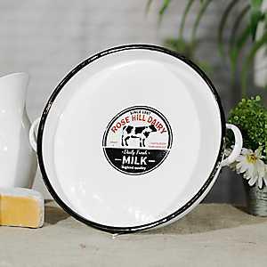 White Metal Enamelware Rose Hill Dairy Tray