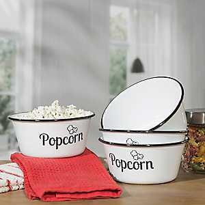 White Metal Enamelware Popcorn Bowls, Set of 4