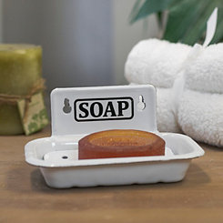 White Metal Enamelware Wall Mount Soap Dish