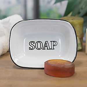White Metal Enamelware Soap Dish