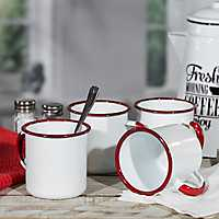 White and Red Metal Enamelware Mugs, Set of 4