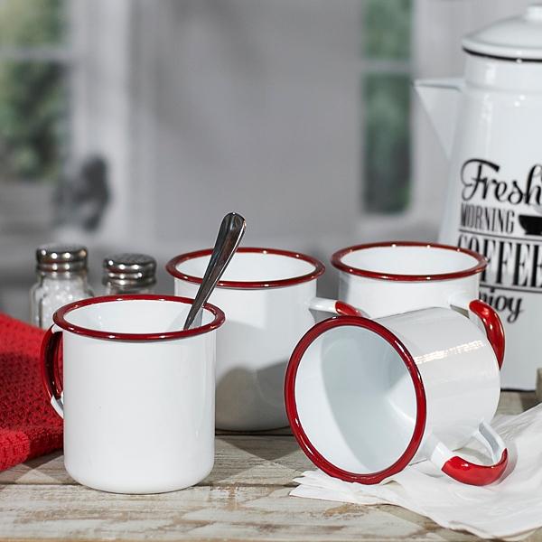 White and Red Metal Enamelware Mugs