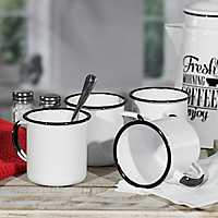 White and Black Metal Enamelware Mugs, Set of 4