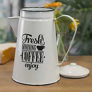 White Metal Enamelware Coffee Pot